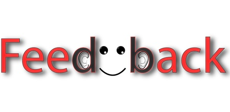 Red black feedback banner on white background Illustration