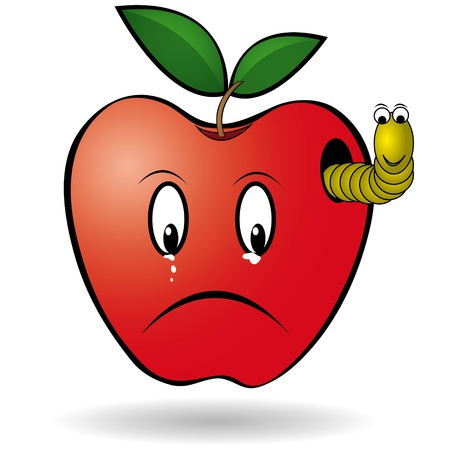 apple cartoon:  illustration: sad red apple and yellow worm.
