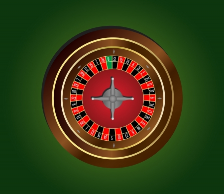 Classic casino roulette wheel on green background Vector