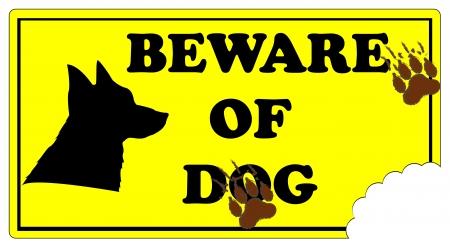 dog bite: Attenzione Segno Cane con impronte e morso marchio cane.