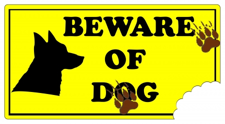 Beware of Dog Sign with footprints and dog bite mark. Vector