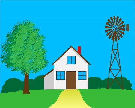 Country house with windmill and forest in background Stock Vector - 17371585