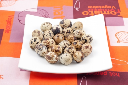 Food  group of quail eggs on a plate photo