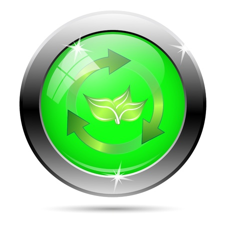 Recycle icon - green and gold arrows on green background photo