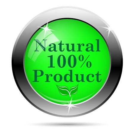 100 percent natural product icon - green writing on green background photo