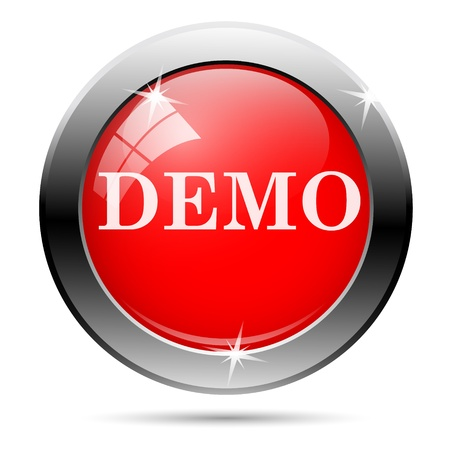 Demo icon with white writing on red background photo