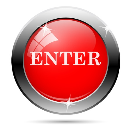 enter icon with white on red background Stock Photo - 19027254