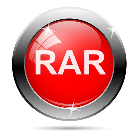 compress: rar icon with white writing on red background Stock Photo