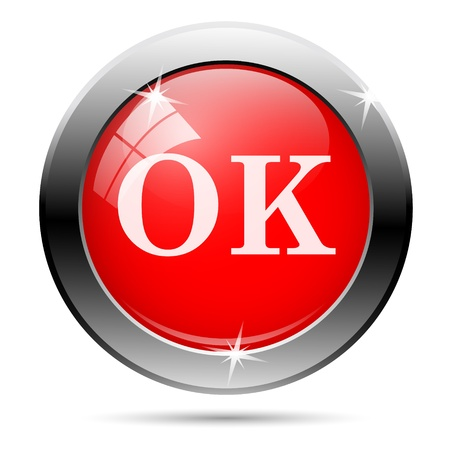 ok icon with white writing on red background Stock Photo - 19113401