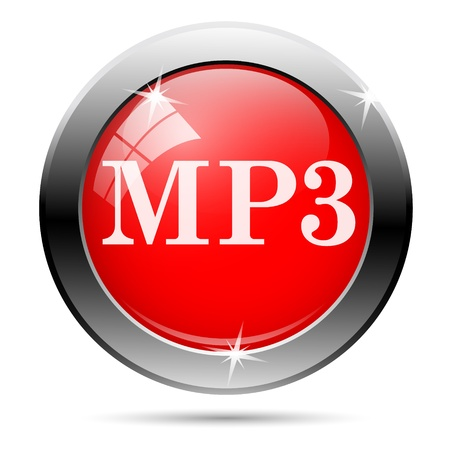 mp3 icon with white writing on red background photo