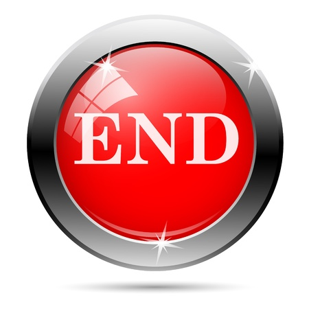 end icon with white writing on red background photo