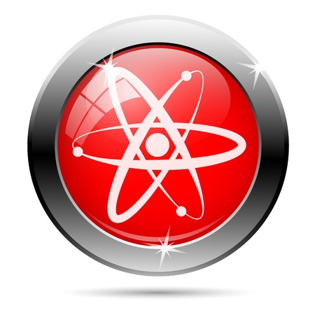 Atoms icon with white on red background Stock Photo - 19315911