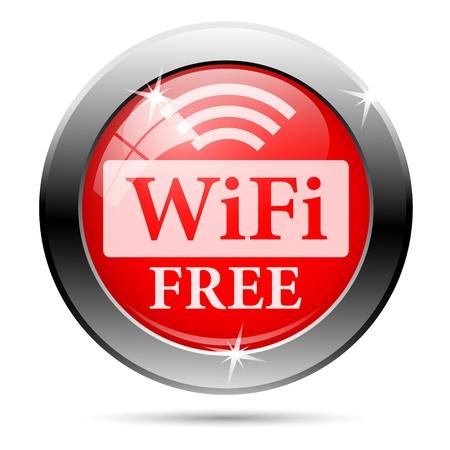zone: Gratis wifi pictogram met wit op rode achtergrond Stockfoto