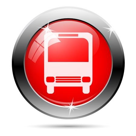 Bus icon with white on red background photo