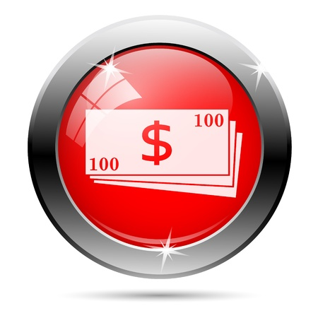 Dollar bills icon with white on red background
