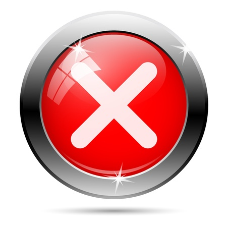 Cancel icon with white on red background photo