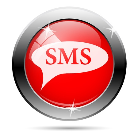 SMS icon with white on red background photo