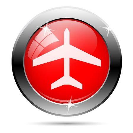 Plane icon with white on red background photo