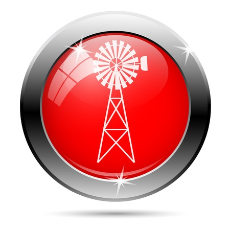 Windmill icon with white on red background photo