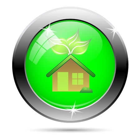 Green house glossy icon on white background Stock Photo - 19670120