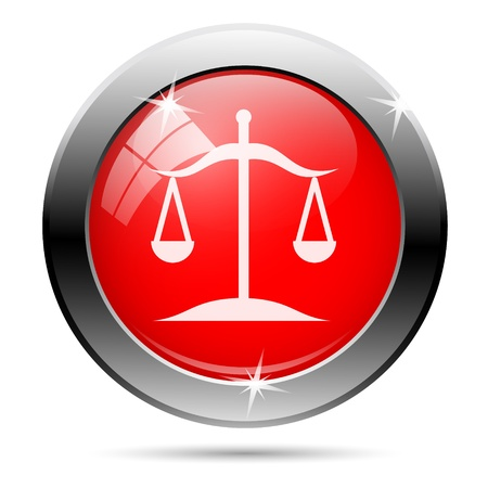 Balance icon with white on red background photo