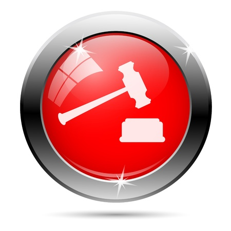 Judge hammer icon with white on red background photo