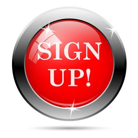 Sign up icon with white on red background photo