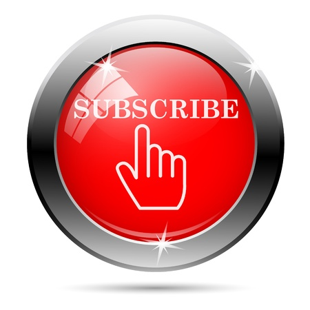 subscribe: Subscribe icon with white on red background Stock Photo