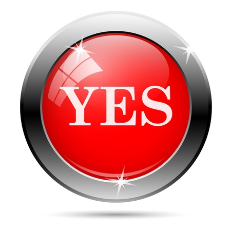 Yes icon with white on red background photo