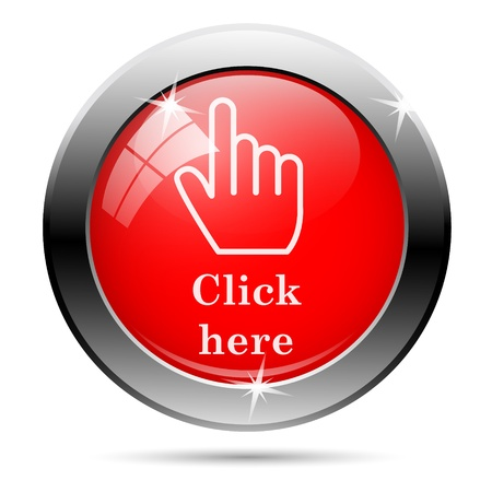 Click here icon with white on red background photo