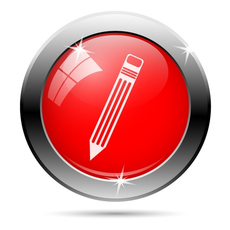 Pen icon with white on red background photo