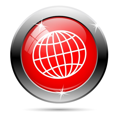 Metallic round glossy icon with white on red background photo