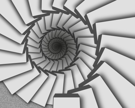 Abstract background of gray staircase goes to infinity down