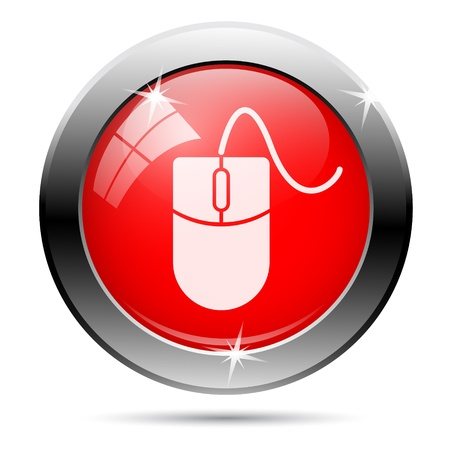 Metallic round glossy icon with white on red background