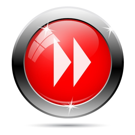 fast forward: Metallic round glossy icon with white on red background