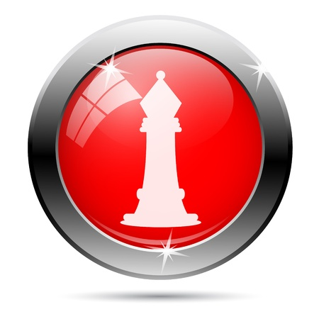 competitor: Metallic round glossy icon with white on red background