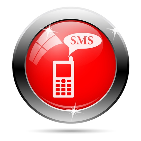 gsm phone: Metallic round glossy icon with white on red background