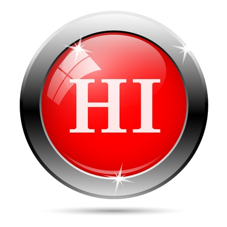 linguist: Metallic round glossy icon with white on red background
