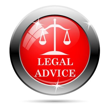 asesoria legal: Met�lico icono ronda brillante con blanco sobre fondo rojo
