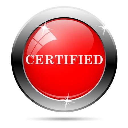 ratificaci�n: Met�lico icono ronda brillante con blanco sobre fondo rojo