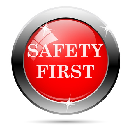 safety first: Metallic round glossy icon with white on red background