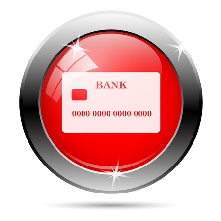 commercial activity: Metallic round glossy icon with white on red background