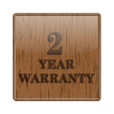Shiny icon with 2 year warranty words design on wooden background photo