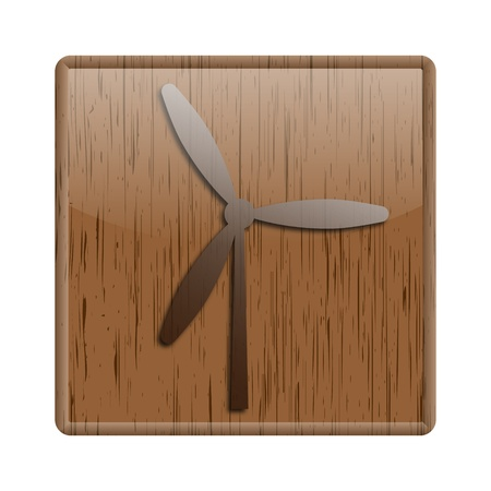 windfarm: Shiny icon with windmill design on wooden background