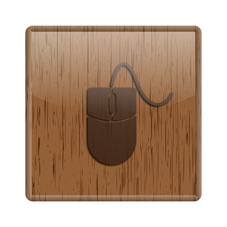 Shiny icon with computer mouse design on wooden background photo