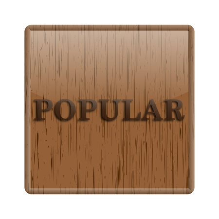 Shiny icon with popular word design on wooden background photo