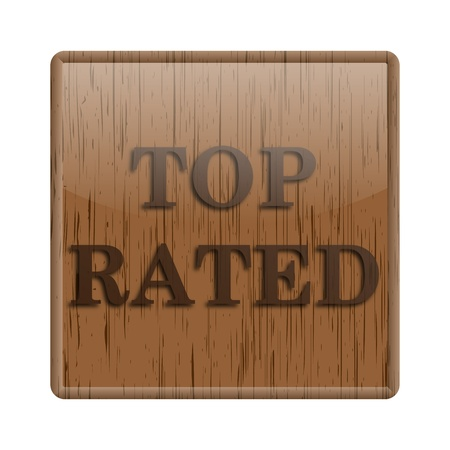 selected: Shiny icon with top rated word design on wooden background