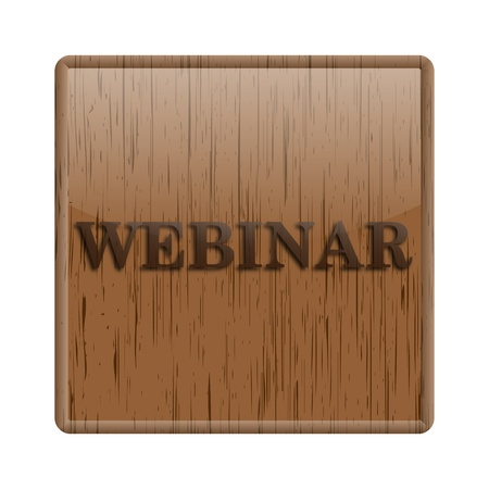 Shiny icon with webinar word design on wooden background photo