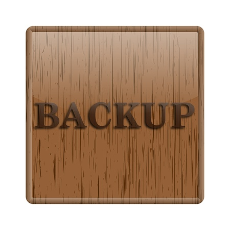 recover: Shiny icon with backup word design on wooden background Stock Photo