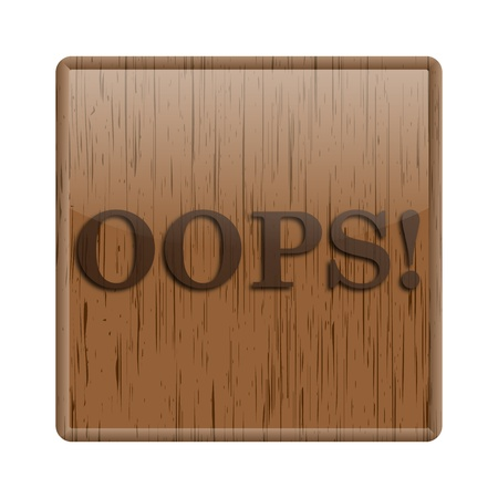 Shiny icon with oops! word design on wooden background Stock Photo - 20484688